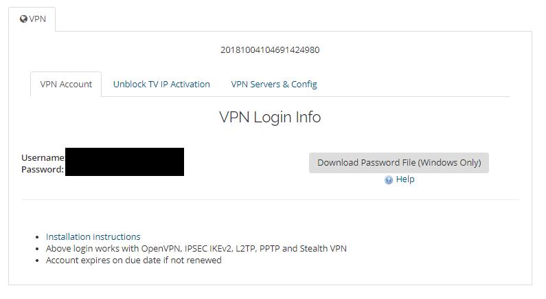 AceVPN account information