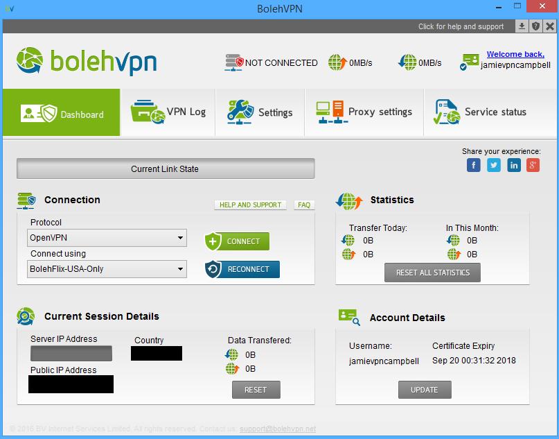 BolehVPN app dashboard