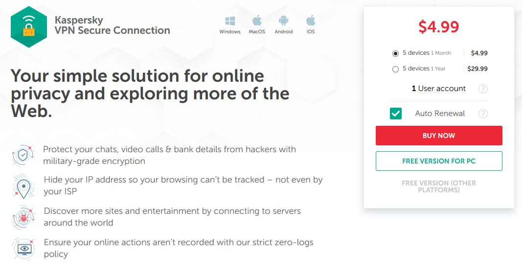 Kaspersky Secure Connection VPN Review