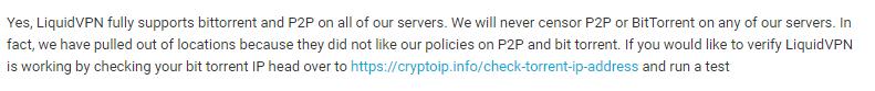 LiquidVPN torrenting policy
