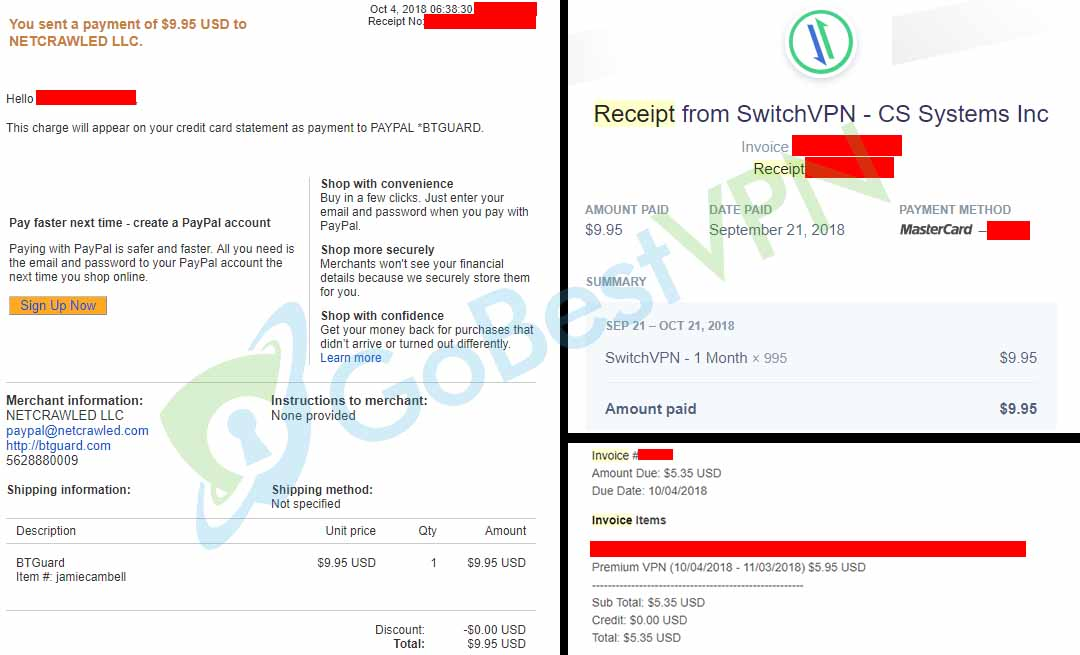 VPN Payment Receipts