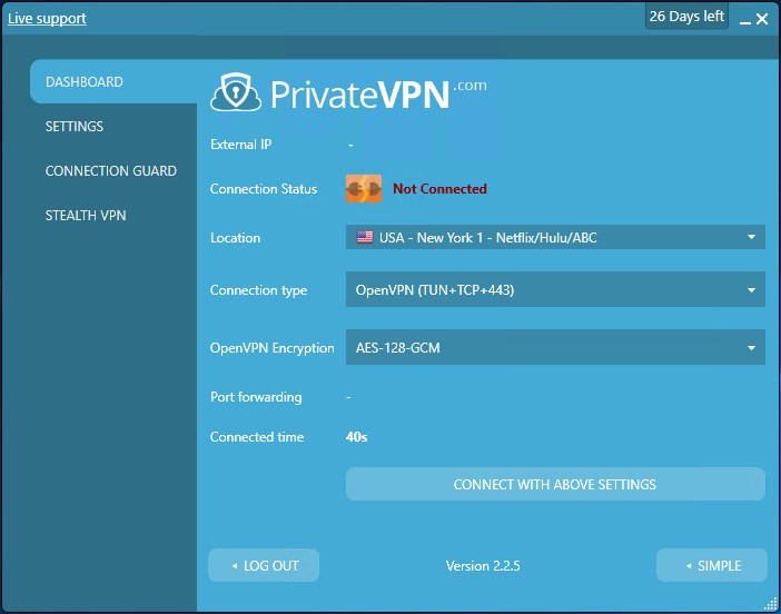 PrivateVPN app dashboard