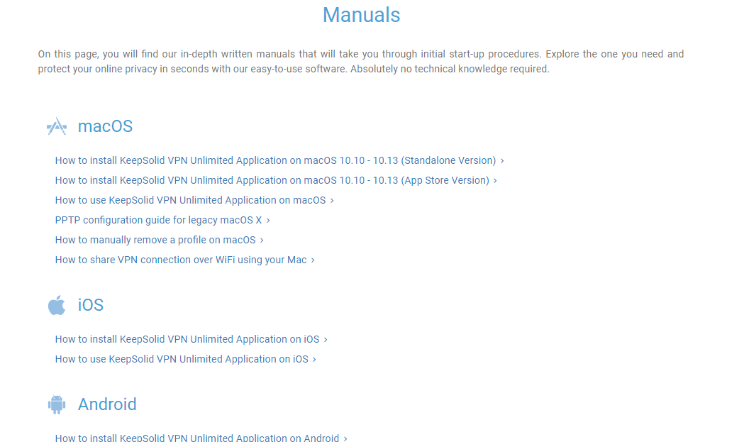 VPN Unlimited manuals