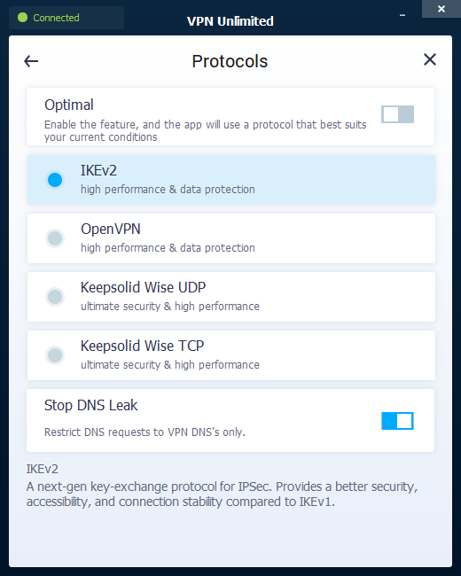 VPN Unlimited protocols setting