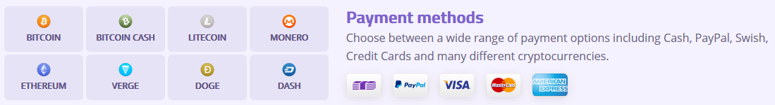 AzireVPN payment methods
