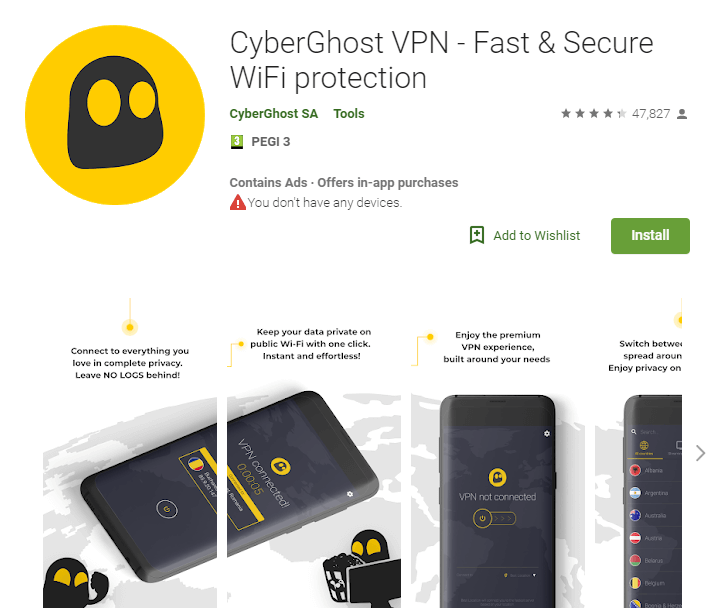 CyberGhost VPN for Android