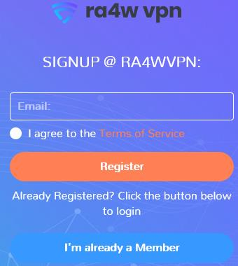 RA4WVPN signup form