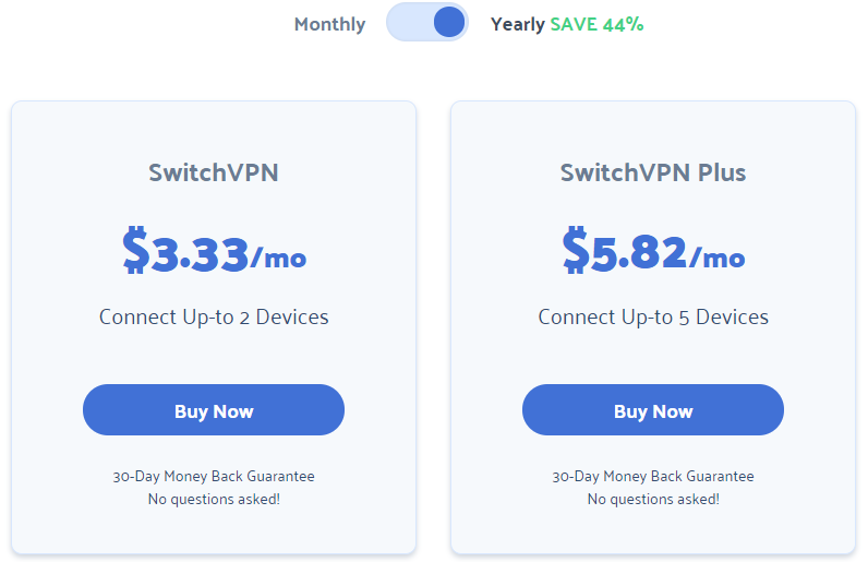 SwitchVPN pricing