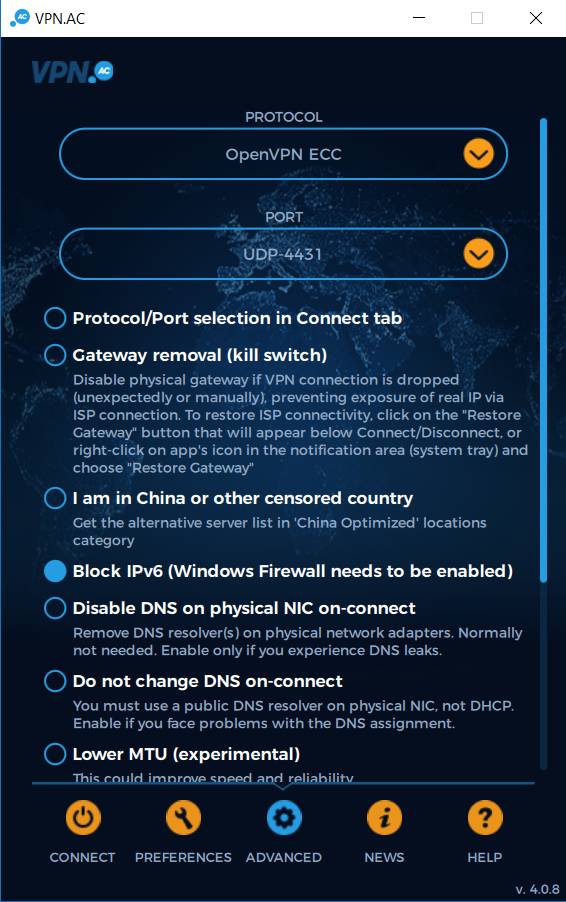 vpn.ac setting screenshot