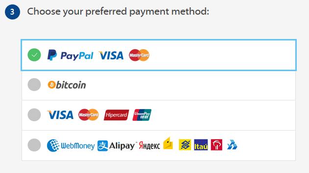 VPNArea payment methods