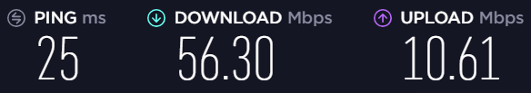speed test results 1