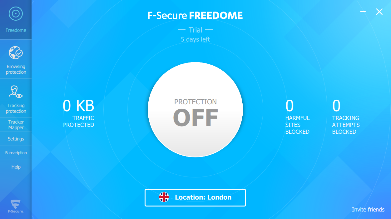 F-Secure Freedome VPN screenshot