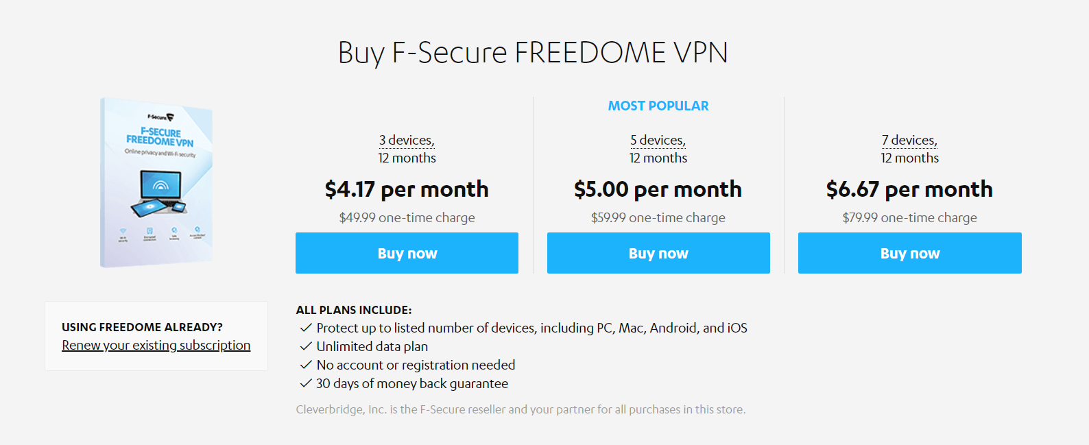 f-secure subscription options