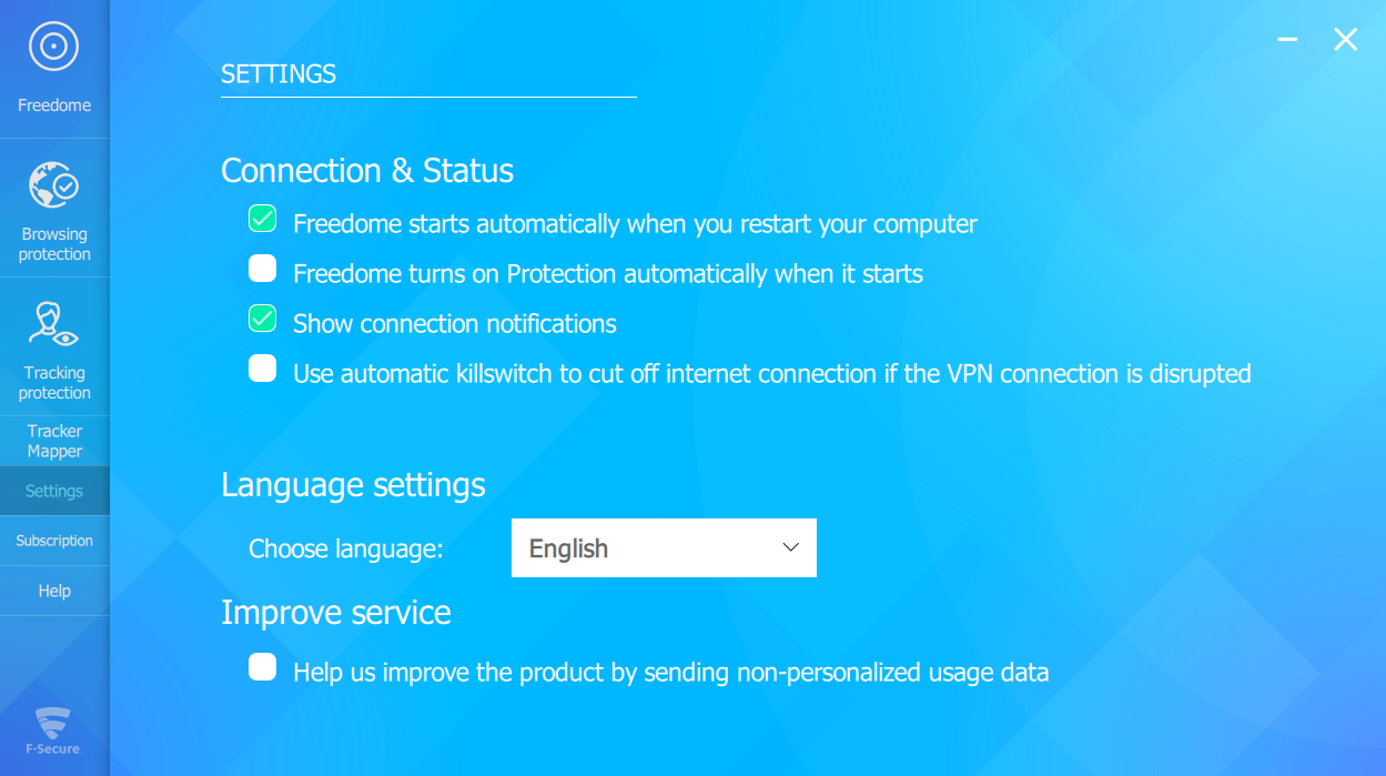 F-Secure Freedome VPN settings