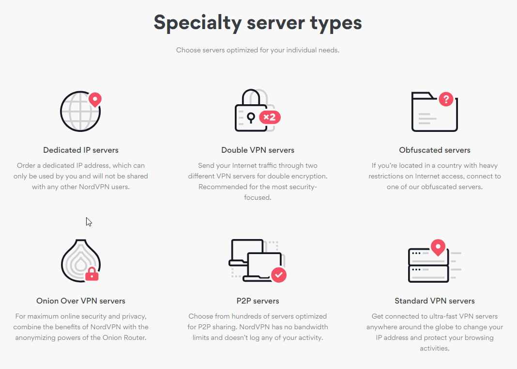 nordvpn server types