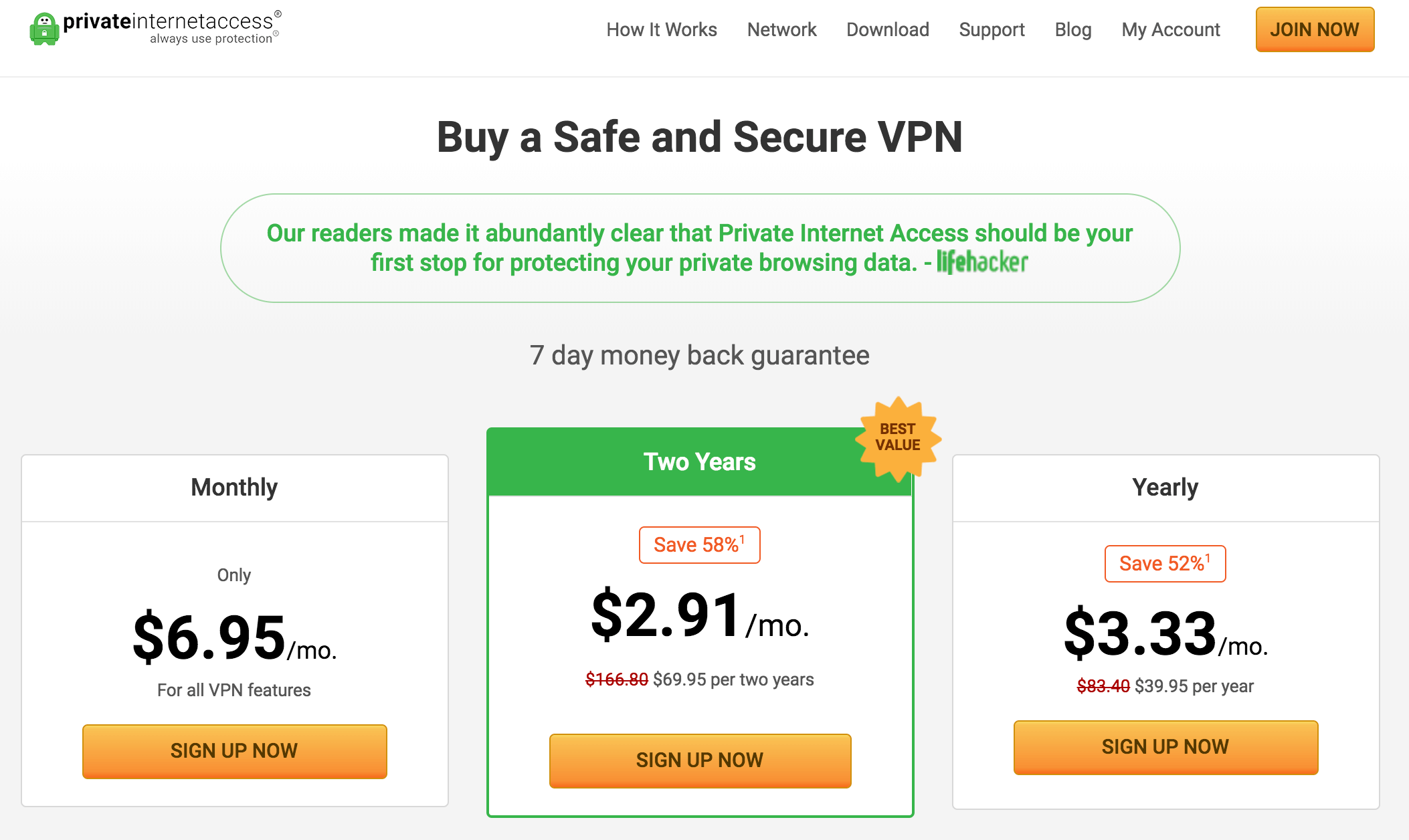 private internet access moneyback
