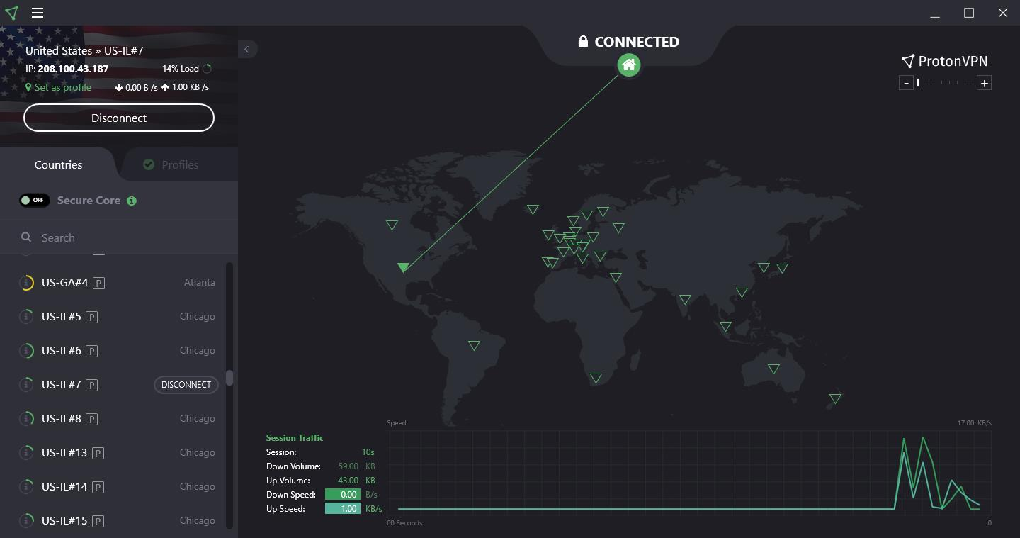 ProtonVPN connected status