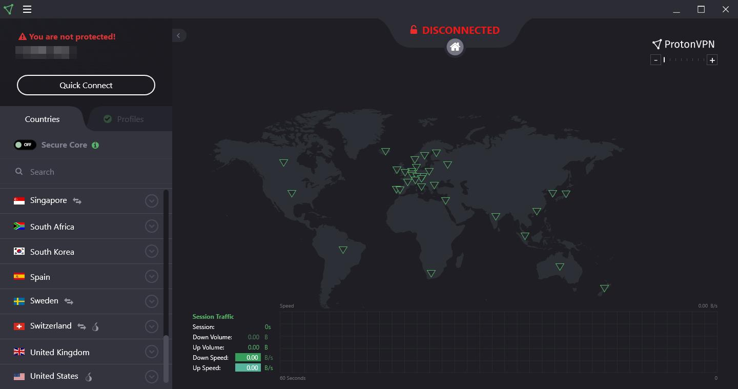 ProtonVPN interface screenshot