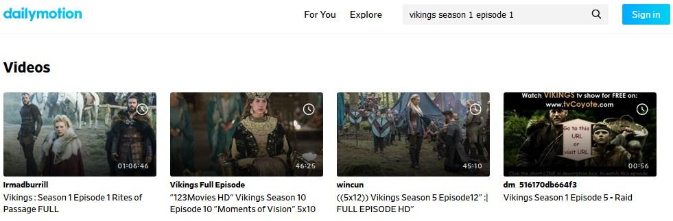 watch vikings on dailymotion