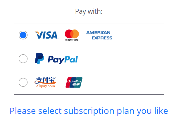 VPN Shield payment options