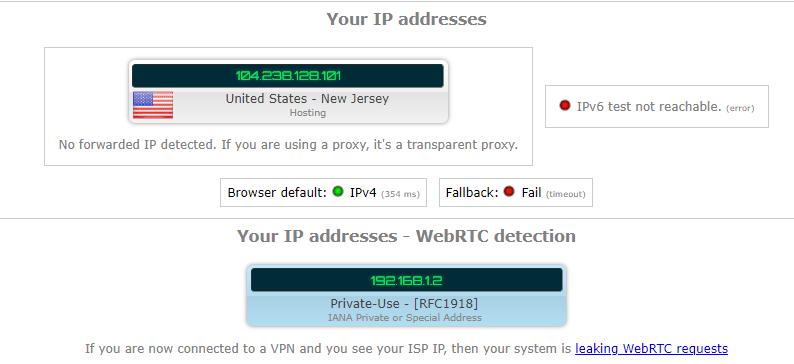vpnmaster ip leak test us