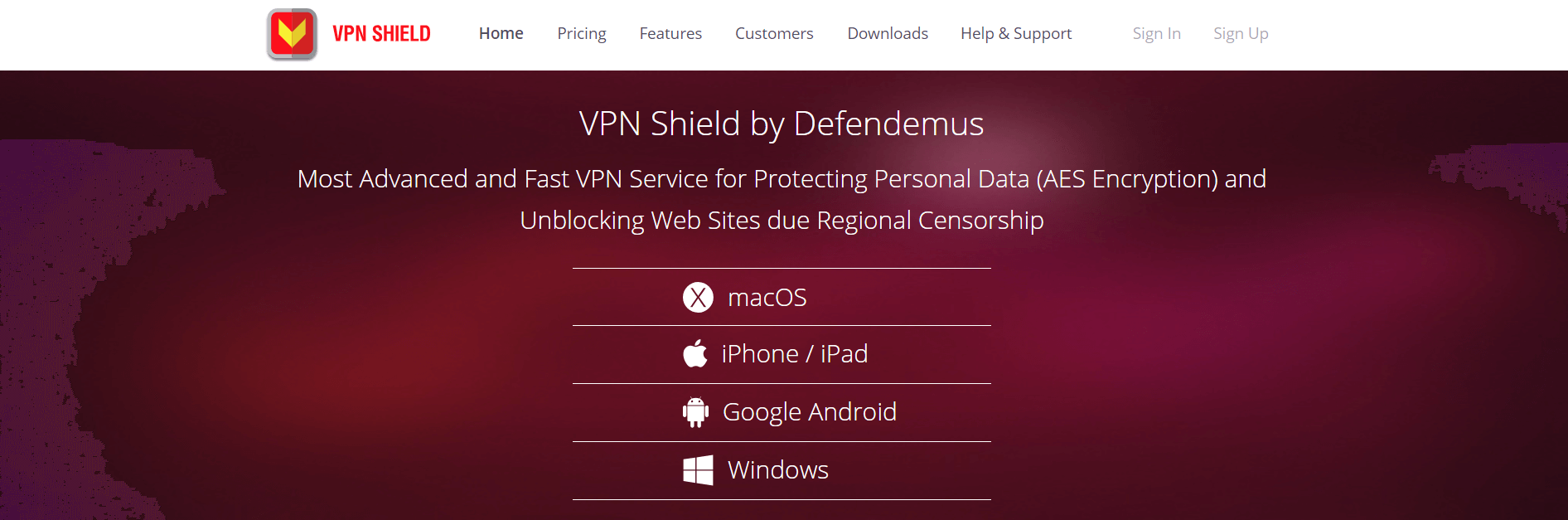 VPN Shield homepage