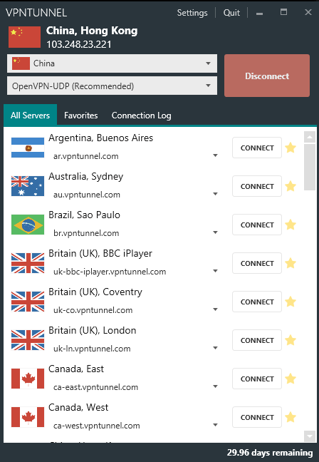 vpntunnel server list