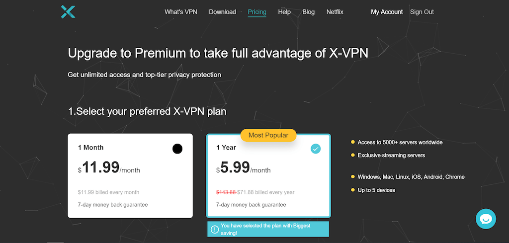 x-vpn pricing