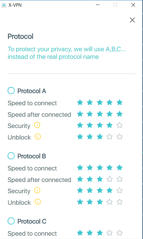 x-vpn protocols settings