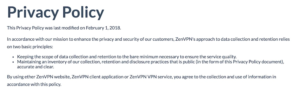 ZenVPN Privacy Policy