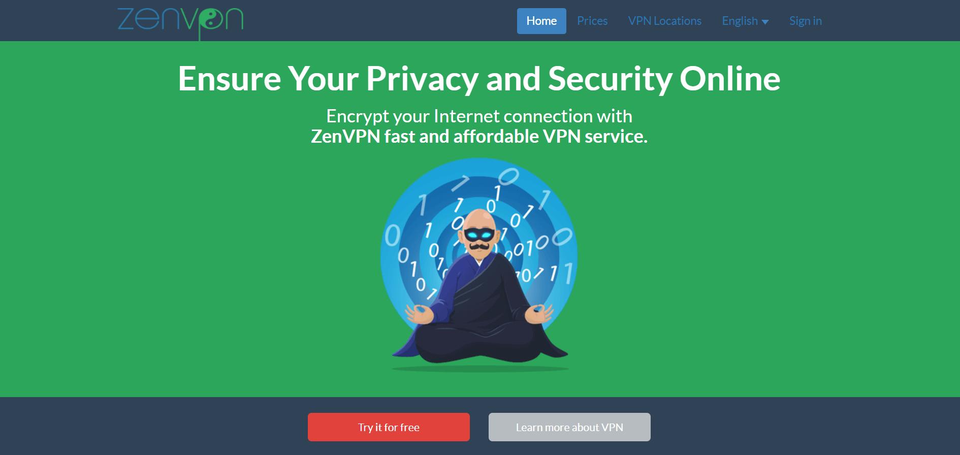 ZenVPN homepage