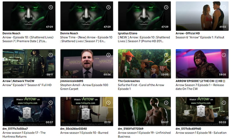 search for arrow on dailymotion