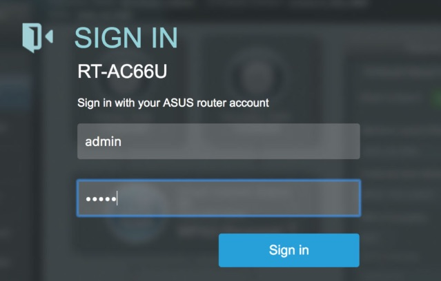 asus router login interface