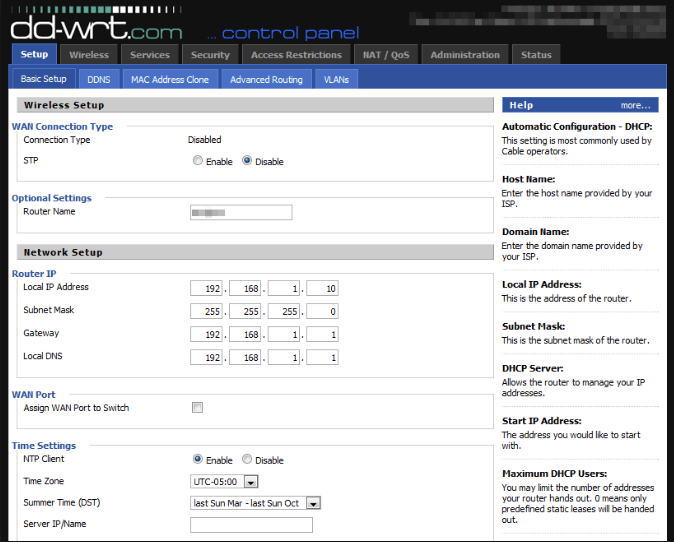 DD-WRT router UI