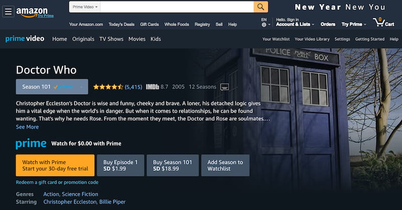 Watch Doctor Who on Amazon Prime