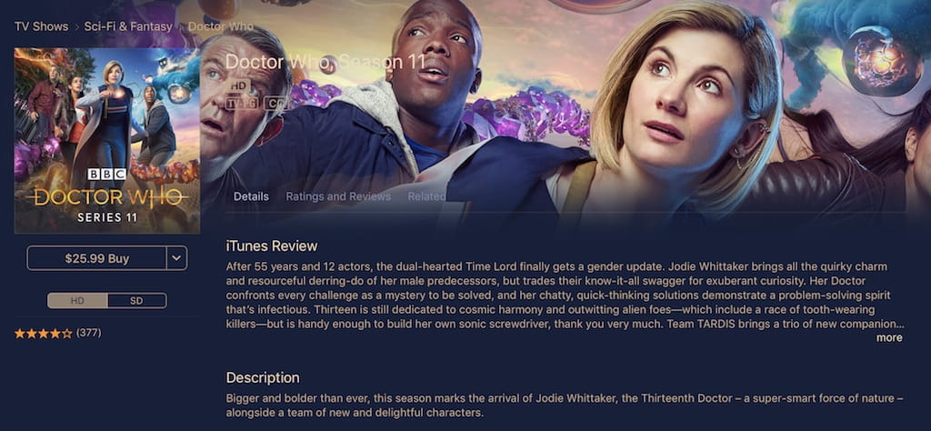 Watch Doctor Who on Apple iTunes