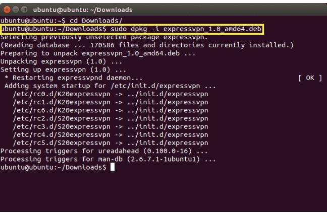 ExpressVPN Linux command