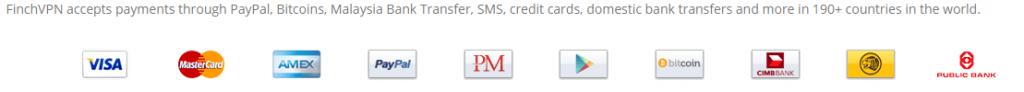 FinchVPN payment options
