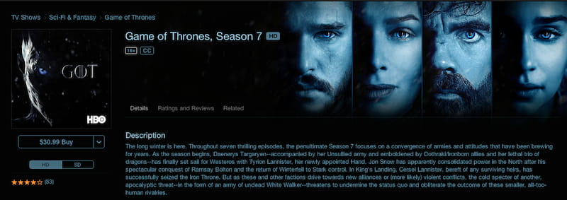 game of thrones itunes
