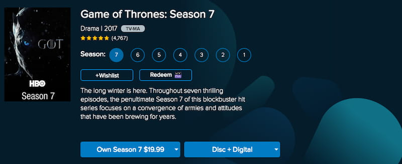 game of thrones vudu
