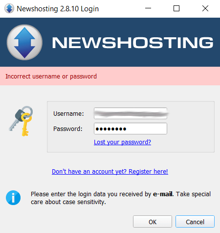 Newshosting VPN sign-in error