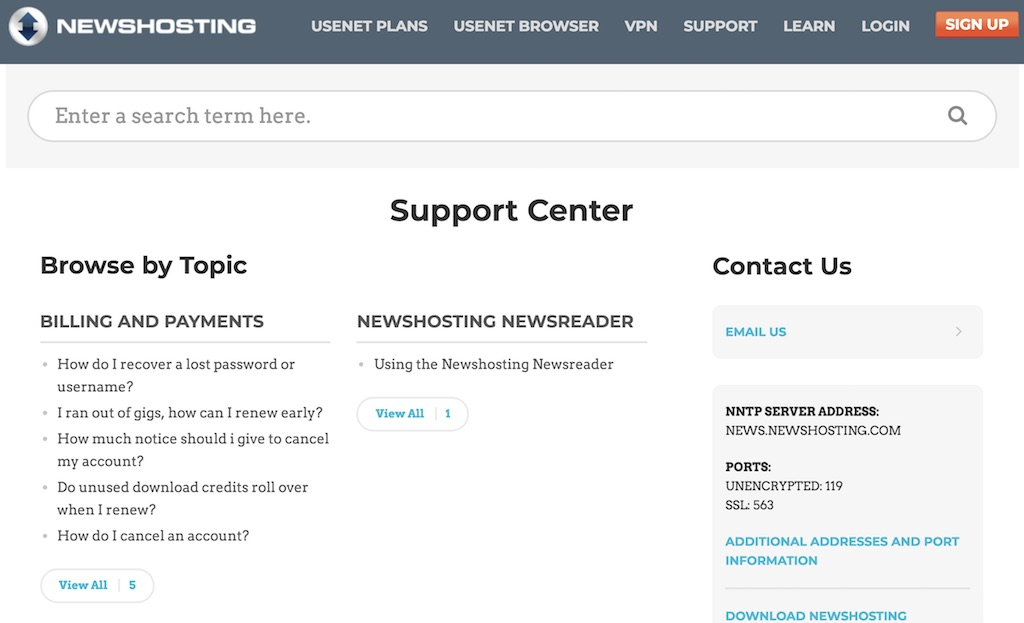 Newshosting VPN support center