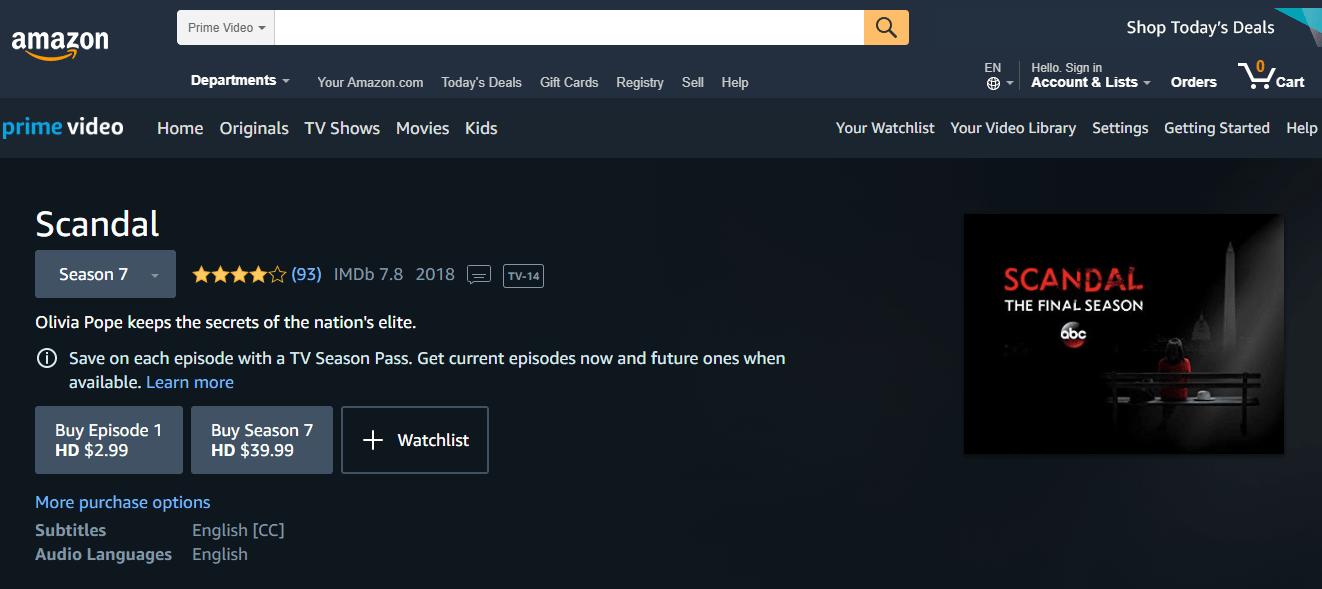 Watch Scandal on Amazon Prime