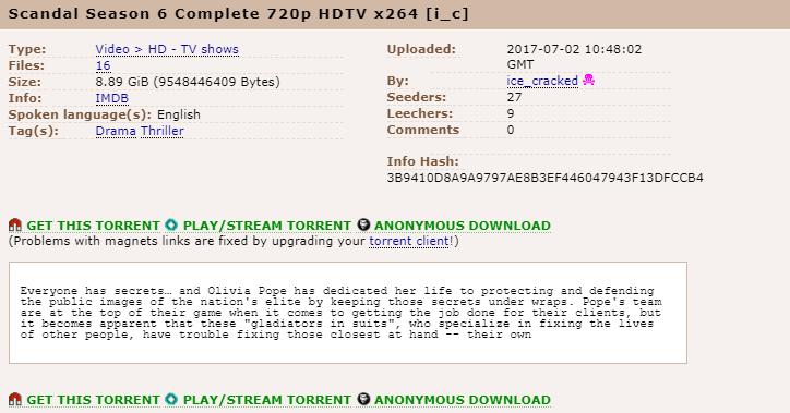 downloading Scandal on torrent