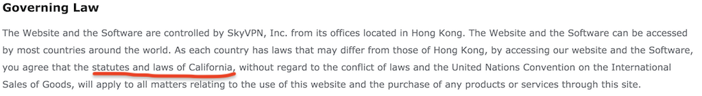 skyvpn terms of service