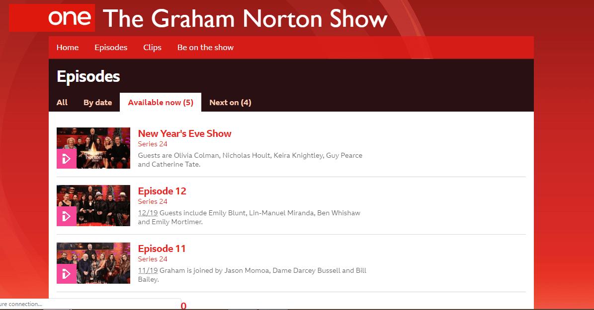 Watch the Graham Norton Show online on BBC iPlayer
