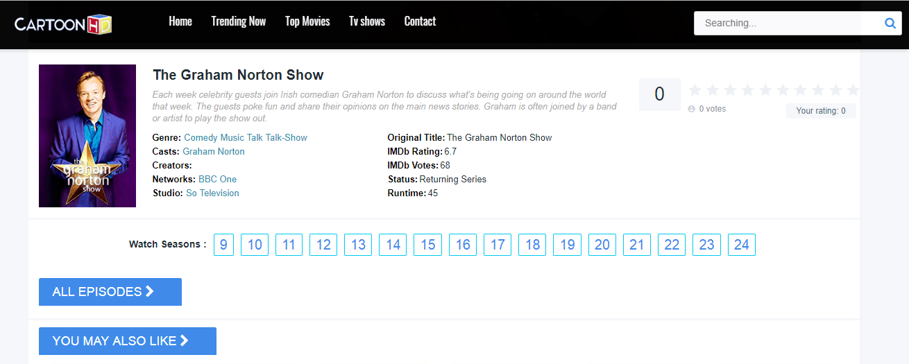 Watch The Graham Norton Show online on Cartoon HD