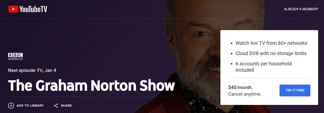 Watch The Graham Norton Show online Youtube TV
