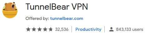 TunnelBear chrome web store