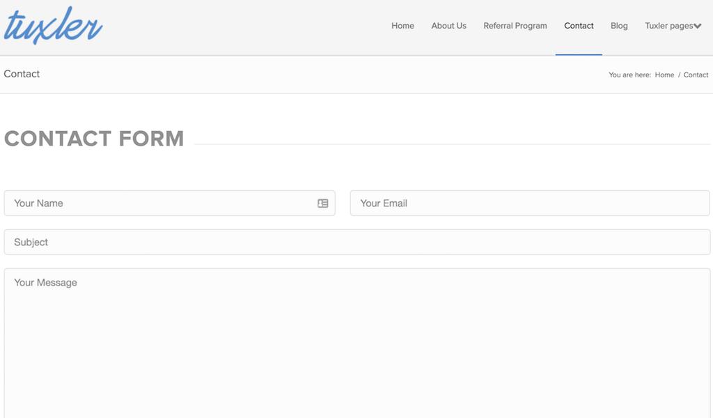 Tuxler VPN contact form